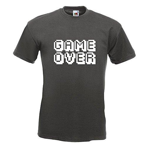 KIWISTAR - GAME OVER Pixel Schrift T-Shirt in 15 verschiedenen Farben - Herren Funshirt bedruckt Design Sprüche Spruch Motive Oberteil Baumwolle Print Größe S M L XL XXL Graphit