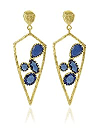 The Bohemian E2617 - 289 Blue Ribbed Triangle Alloy Gold Plated Dangle & Drop Earring For Women