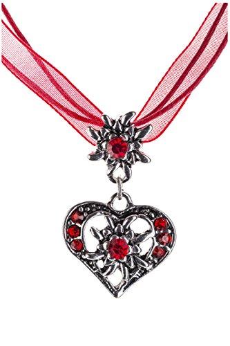 Trachtenkette elegantes Herz mit Strass und Edelweiss Anhänger Trachtenschmuck Kette für Dirndl und Lederhose Damen in vielen Farben