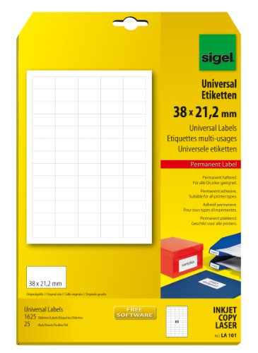 SIGEL LA101 Mini-Etiketten weiß, z.B. Preisauszeichnung, 38 x 21,2 mm, 1625 Etiketten= 25 Blatt