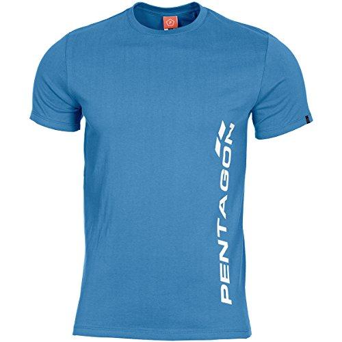 Pentagon T-Shirt Vertical Blau, L, Blau