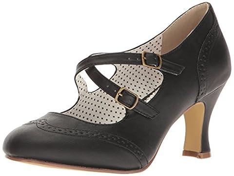 Pinup Couture Damen Flapper-35 Pumps, Schwarz (Blk Faux Leather), 38 EU