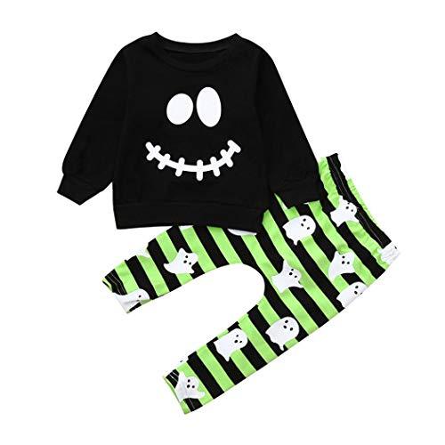 (Fuibo Baby Halloween Kleidung, Kleinkind Baby Jungen Mädchen Cartoon Geist Tops Pullover Hosen Halloween Outfits Set Weihnachten Kleider Set (3-4T(120), Schwarz))