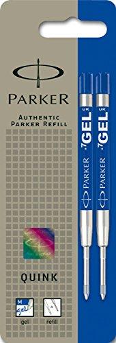 Preisvergleich Produktbild Parker S0881510 Ersatzgelminen Quink (für Kugelschreiber, mittlere Strichbreite, blaue Tinte, 2er-Pack)