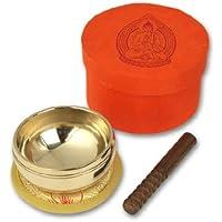 Klangschalen-Center Bols chantants Centre de 5068A Bol chantant et accessoires dans boîte de rangement avec imprimé Bouddha Orange