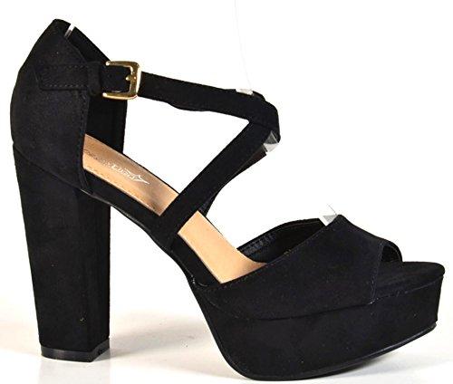 Damen Riemchen Abend Sandaletten High Heels Pumps Slingbacks Velours Peep Toes Party Schuhe Bequem B67 (36, Schwarz) (Slingback Heels Plateau High)
