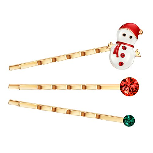 Neoglory Jewellery Weihnachten Schneemann Haarspangen Set Strass (Schneemann Kostüme Frau)