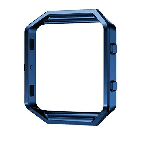 PUGO TOP Accessoire Cadre en Métal-Remplacement du Bracelet Luxe Cadre de Montre de Rechange Acier Inoxydable Metal Frame Shell Holder Bumper pour Fitbit Blaze SmartWatch-bleu