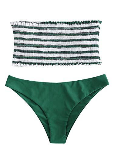 ZAFUL Frauen Zweiteiler trägerlos gestreift gekräuselten Bandeau Bikini Set (S, GRÜN) -