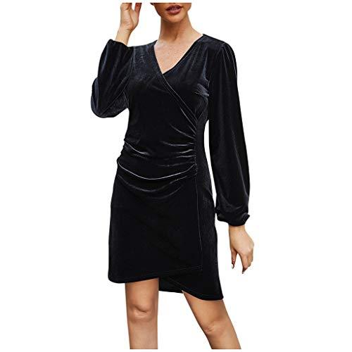 iCerber Damen Dress Knielanges Damen Jersey Kleid V-Ausschnitt Langarm Wickeloptik Business BüRo Elegante Stilvolle Kleider Jerseykleider Frauen Freizeit Winterkleid GeschäFt Pulloverkleid