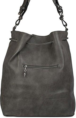 styleBREAKER bucket bag XL con stella, borchie e nappe, borsa shopping, borsa a tracolla, borsetta, donna 02012187, colore:Marrone Marrone rossiccio