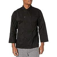 Chef Code Men's Classic 100% Premium Cotton Long Sleeve Coat, Black, Medium