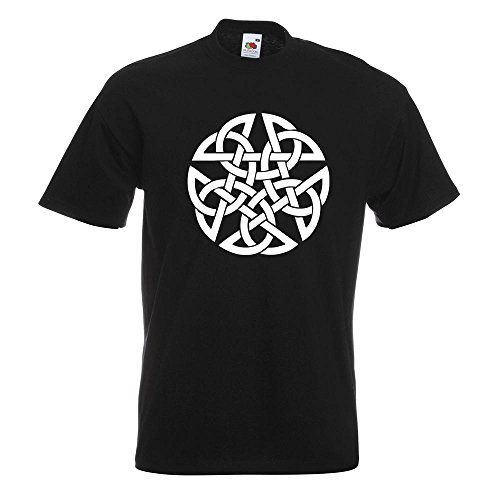 KIWISTAR - Celtic PentagramPentacle Druids T-Shirt in 15 verschiedenen Farben - Herren Funshirt bedruckt Design Sprüche Spruch Motive Oberteil Baumwolle Print Größe S M L XL XXL Schwarz