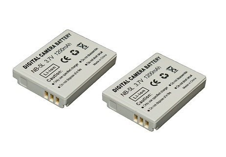 High Capacity - 2 x Rechargeable Battery for Canon Digital Cameras - Replacement for Canon NB-5L Battery - AAA