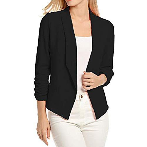 Sannysis Anzugjacke Damen Blazer Elegant Frauen 3/4 Ärmel Öffnen Sie Front Short Cardigan Suit Anzug Jacket Arbeit Büromantel -