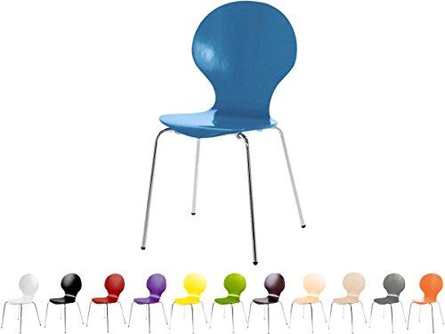 Stapelstuhl Bistrostuhl Stuhl Esszimmerstuhl Küchenstuhl Design Metall Holz stapelbar sehr belastbar Marcus (Himmelblau)