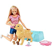 Barbie FDD43 FAMILY Newborn Pups Pet and Comes with Dog and Three Puppies, Gender Reveal, Gifts for Ages 4 to 9 Years Children Playset