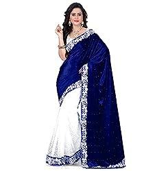 Buyonn Women's Velvet Saree (OFS1697-SS_Multi-Coloured)
