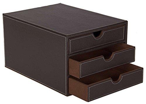 Osco BPU3TPSP Luxus Faux Leder, Schreibtischzubehör und Ablage, braun