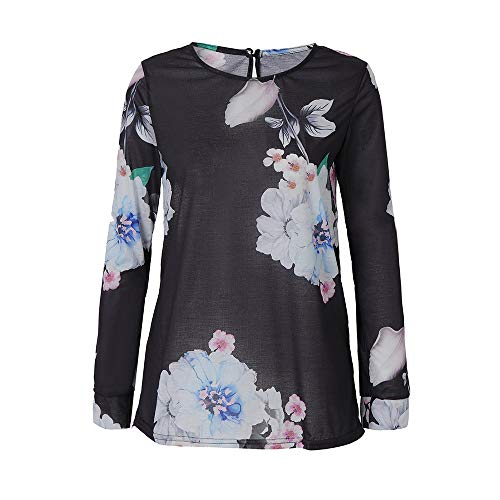 FeiliandaJJ Womens Autumn Floral Printed Long Sleeved O-Neck Pullover Tunic Tops T Shirt Blouse