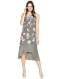 b36319a4a23 Debenhams RJR.John Rocha Womens Dark Grey Floral Silk Midi Dress 10