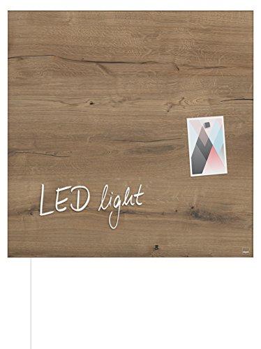 Sigel GL405 Glas-Magnetboard/Magnettafel artverum mit LED-Beleuchtung, Holzoptik 48 x 48 cm