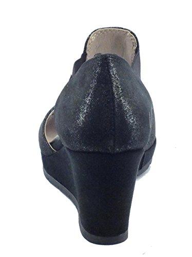Sandali Cinzia Soft per donna in tessuto glitterato nero zeppa alta Nero