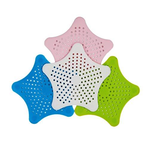 PaWa Abflusssieb aus Silikon - 4 Stück - Haarsieb Sieb für Dusche Badewanne Waschbecken Bad Küche (weiß)