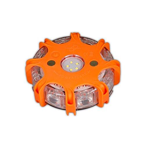 Powerflare Plus orange LED Warnleuchte Pannenleuchte Warnblitzer Rundumleuchte für Auto KFZ Pannenhilfe