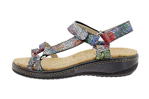 Zapato Cómodo Mujer Sandalia Plantilla Extraíble Flores Negro 180913 PieSanto