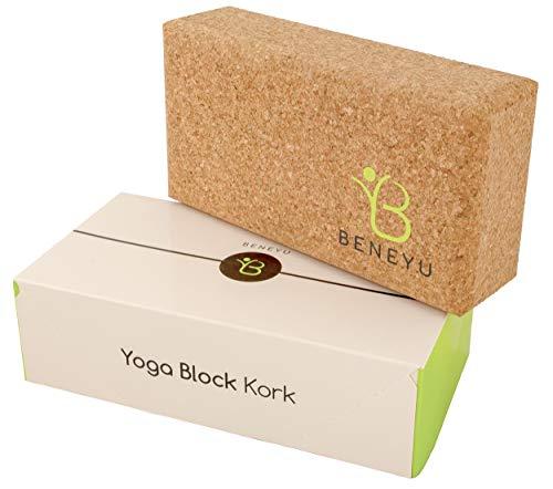 beneyu Yoga-Kork-Block | Rutschfest, geruchsneutral durch nachhaltigen Naturkork | umweltfreundliches Hilfsmittel für Dein besonderes Joga Set | stabil in der Form | Yogaklotz Bio | GRATIS eBook