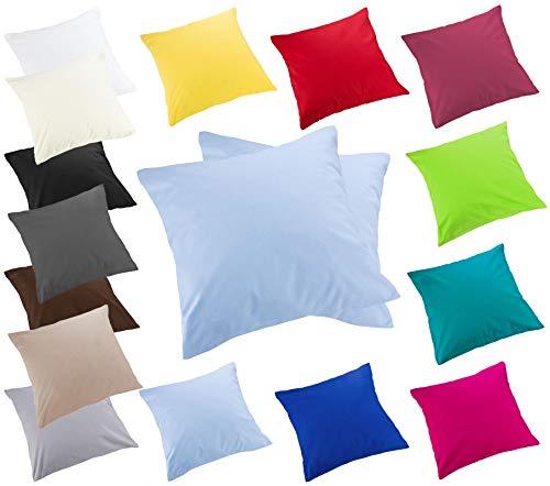 Moon 2er Pack Luxury Linon Kissenbezug Kissenhülle mit Reißverschluß100% Baumwolle (hellblau, 50x50) -