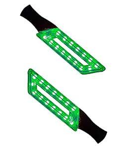 Tranez Trading 2X(Green) Motorcycle Led Bulb Blinkers Turn Signal Indicator + Tranez Logo Keyring for Hero Ignitor