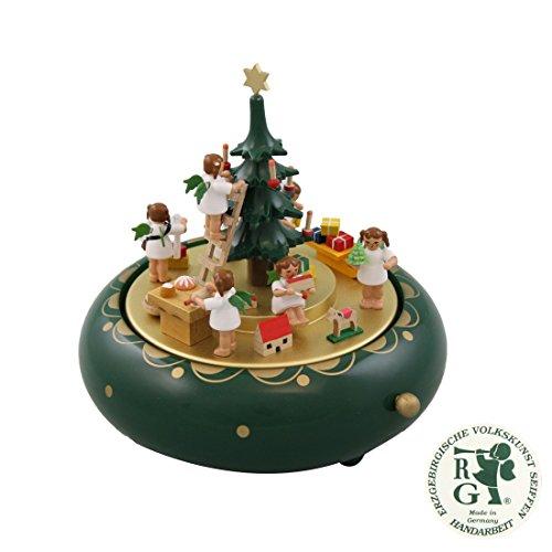 Glässer 08315 Spieldose Engelheimlichkeit, Melodie: Oh Tannenbaum, Weihnachtskrippe in Handarbeit, Höhe: 18 cm (Meisterwerk Kombination)