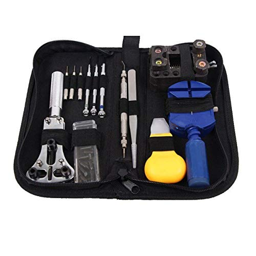 Elviray 13 PCS Watch Repair Kit Professional Watch Battery Replacement Tool Watch Band Tool Set with Carrying Case for Repairing