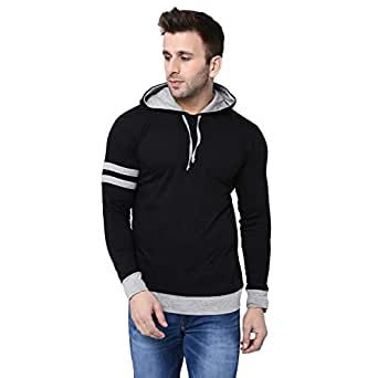 BI FASHION Men's Cotton Round Neck Contrast Hooded Full Sleeves T-Shirt (Black, Small)