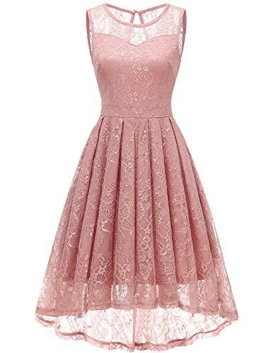 Gardenwed Damen Kleid Retro Ärmellos Kurz Brautjungfern Kleid Spitzenkleid Abendkleider CocktailKleid Partykleid Blush S