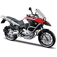 Maisto BMW R 1200 GS: Originalgetreues Motorradmodell, Maßstab 1:12, mit Hinterradfederung und beweglichem Seitenständer, schwarz-rot (531157)