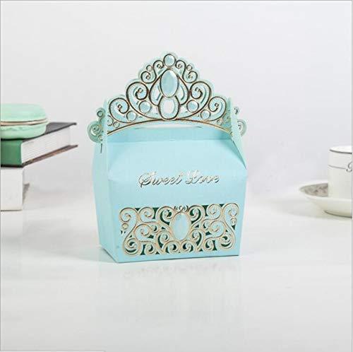 TGQETC Kreative Europäischen Stil Crown Pralinenschachtel Hochzeit Bevorzugungen Verpackung Box Baby Gezeigte Partei Liefert Geschenkbox Tasche 4 Farben 50 stücke Himmelblau