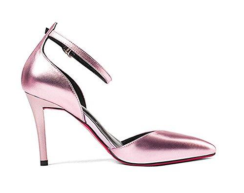Beauqueen Pumps Spitz-Zehen-Knöchelriemen Stiletto Mid Heel Leder Frauen Casual Work Party Elegante Schuhe Silber Rosa Europa Größe 33-39 Pink oMPjq