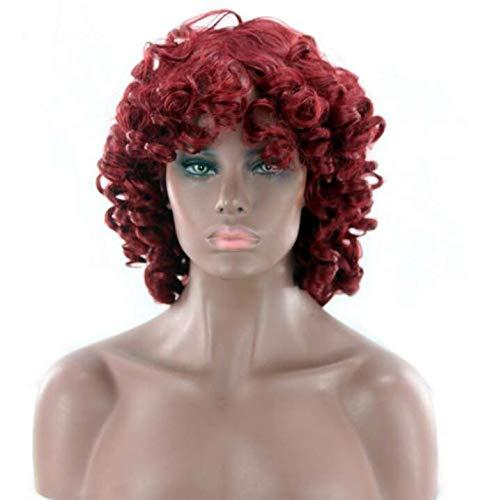 Perücke, weiblich, kleines Lied, kurzes lockiges Haar, explosives Haar, schwarze falsche Kopfbedeckung - weinrot (Halloween Lieder, Weiblich)