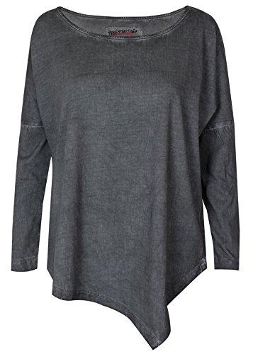trueprodigy Casual Damen Marken Long Sleeve einfarbig Basic, Oberteil cool und stylisch mit Rundhals (Langarm & Slim Fit), Top für Frauen in Farbe: Anthra 1063171-0403-XS