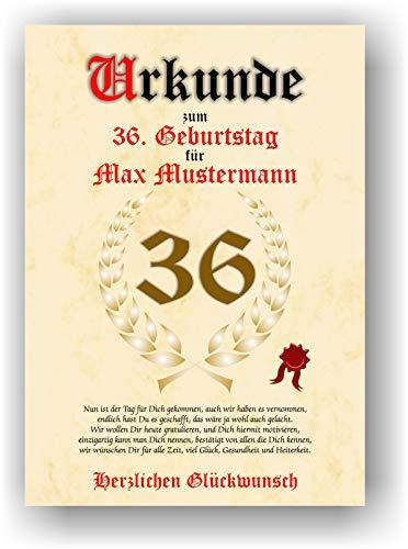 Urkunde zum 36. Geburtstag - Glückwunsch Geschenkurkunde personalisiertes Geschenk mit Name Gedicht und Spruch Karte Präsent Geschenkidee Mann Frau DIN A4