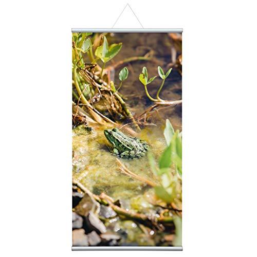 """Naturbild\""""Frosch\"""" Stoffbanner Komplettset - Wandbild, Schaufensterdeko, Praxisdeko, Wanddeko, Werbebanner (60x120 cm)"""