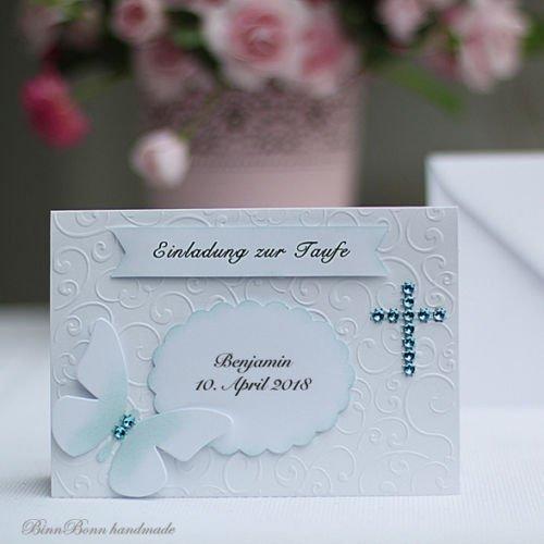 10 personalisierte Einladungskarten Einladung zur Taufe Kommunion Konfirmation Taufeinladung Taufkarten türkis Handarbeit binnbonn