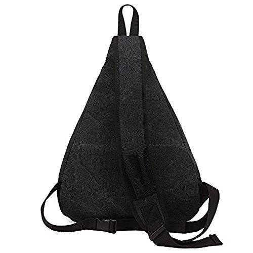 KAUKKO Modische Canvas Vintage Schultertasche Brusttasche für Herren Damen Wander Reise Outdoor Sling Bag Umhängetasche Khaki-1039 Black