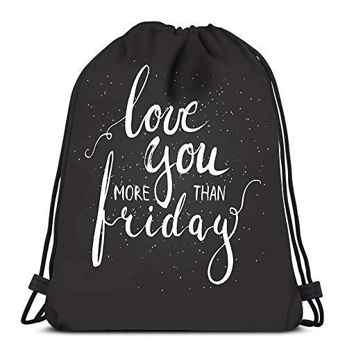 Randell Gym Drawstring Backpack Sport Bag Chalk Grunge Listen to Music The Black Lightweight Shoulder Bags Travel College Rucksack for Women Men