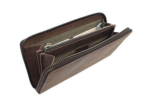 CACTUS Zip Intorno oliato borsa in pelle con tecnologia RFID Protezione 3321_81 Brown Brown