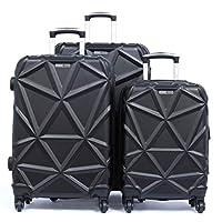 PARAJOHN Matrix 3-Piece Hard Trolley Luggage Set Black