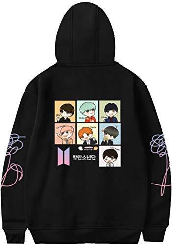 OLIPHEE Mädchen Kapuzenpullover Cartoon BTS Warme Jumper für Jungen KPOP Sweatshirt Schwarz S (Pullover Bts)